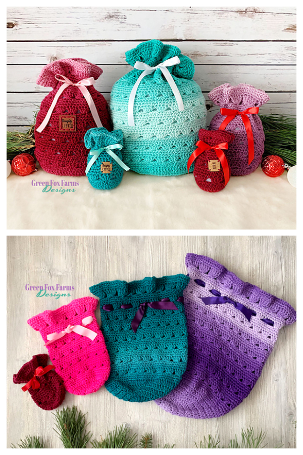 Festive Sweet Stripes Gift Bag Crochet Patterns