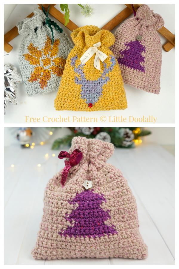 3 Christmas Gift Bag Free Crochet Patterns