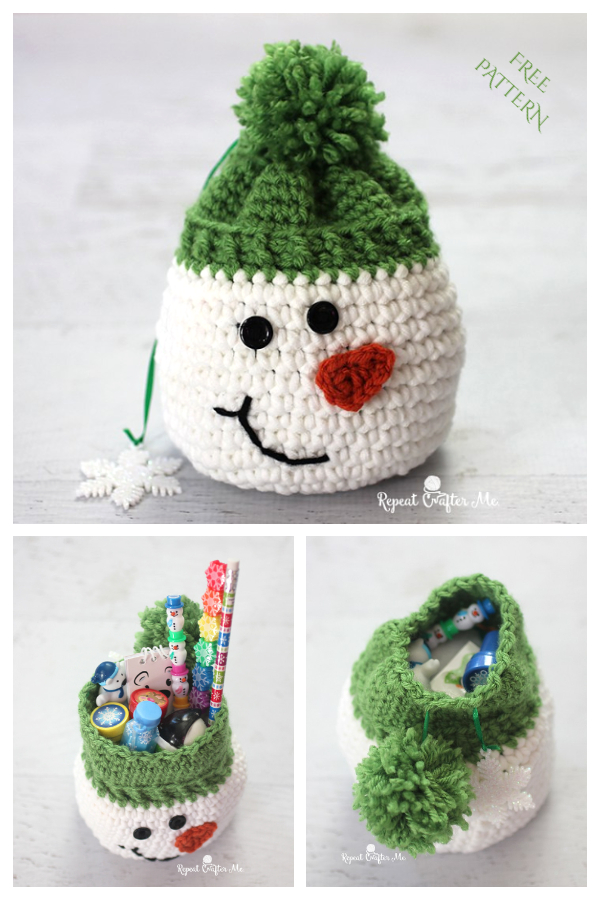 Christmas Snowman Gift Bag Free Crochet Patterns