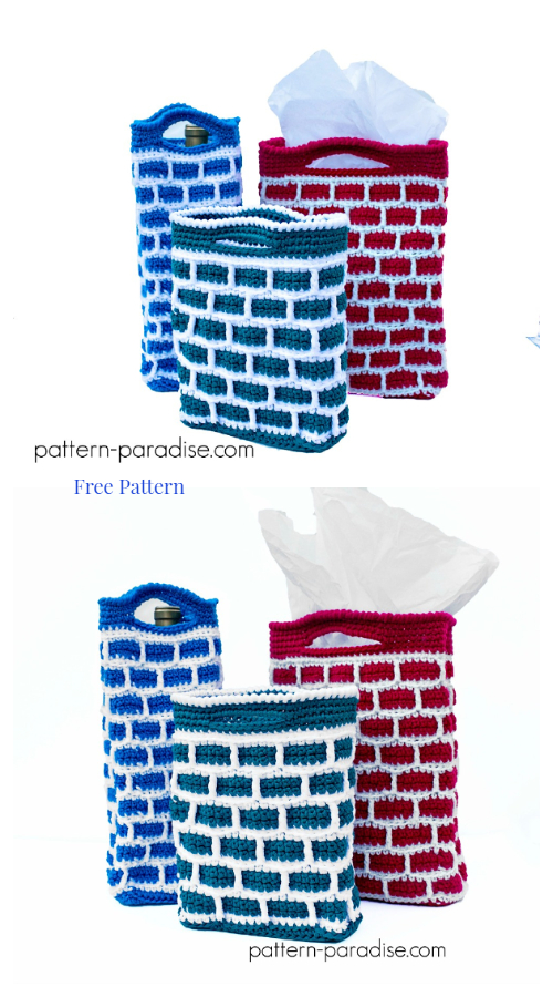 Christmas Down the Chimney Gift Bag Free Crochet Patterns