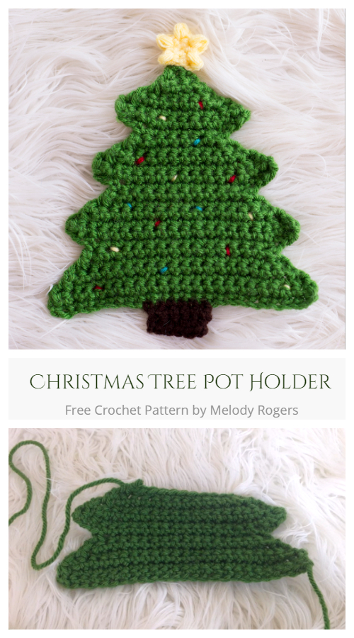 Christmas Tree Potholder Free Crochet Patterns + Video