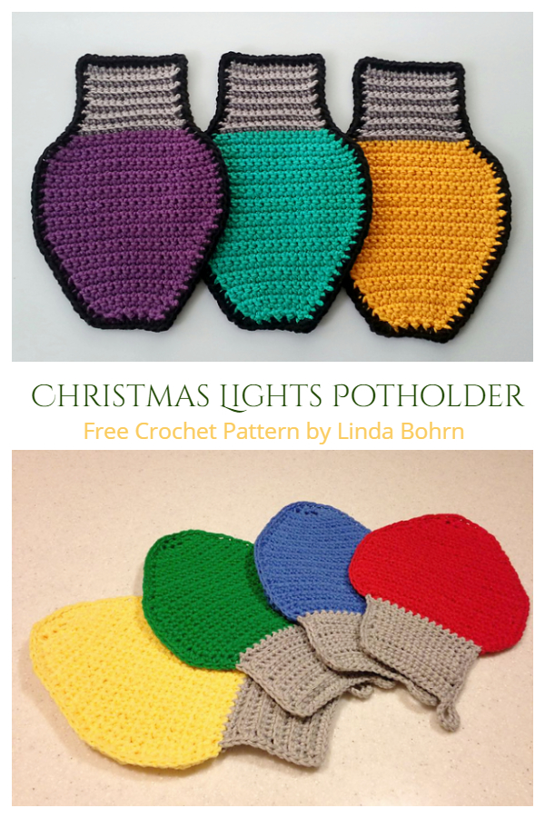 Christmas Lights Potholder Free Crochet Patterns