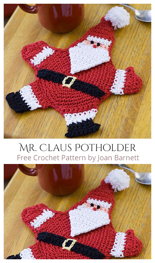 Mr. Claus Christmas Potholder Free Crochet Patterns