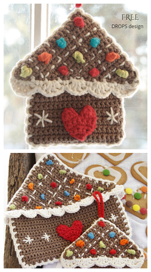 Gingerbread House Christmas Potholder Free Crochet Patterns