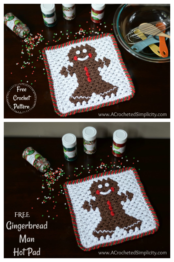 Gingerbread Man Christmas Potholder Free Crochet Patterns