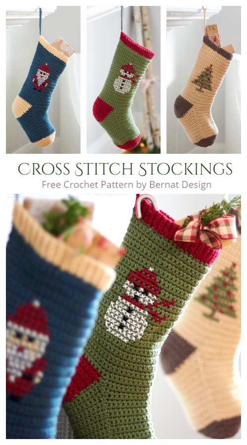 Cross Stitch Christmas Stockings Free Crochet Patterns