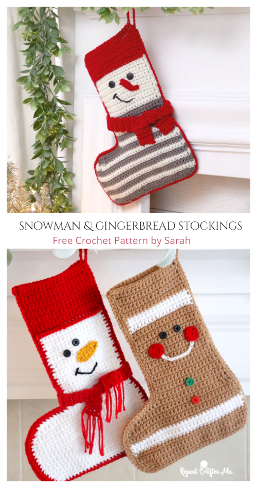 Christmas Snowman and Gingerbread Stockings Free Crochet Patterns