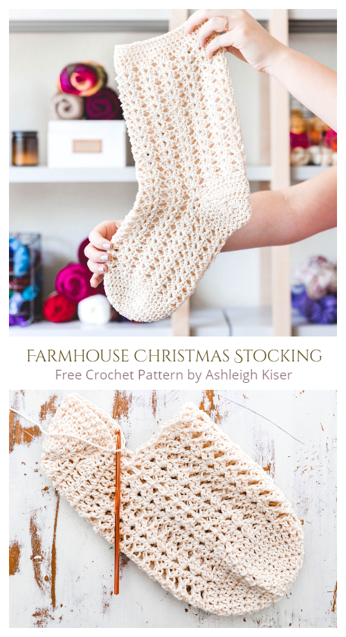 Farmhouse Christmas Stockings Free Crochet Patterns
