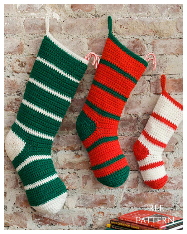Waiting for Santa Christmas Stockings Free Crochet Patterns