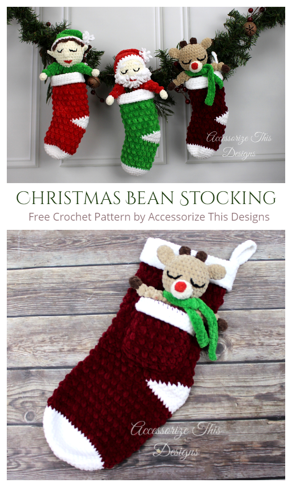 Christmas Bean Stockings Free Crochet Patterns