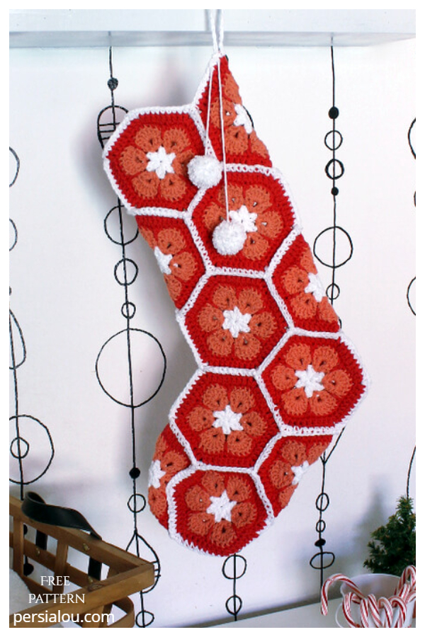 African Flower Christmas Stockings Free Crochet Patterns