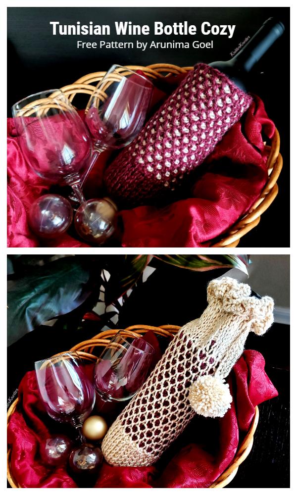 Tunisian Wine Bottle Cozy Free Crochet Patterns