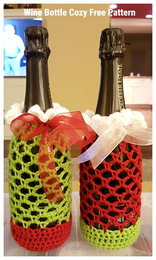 Net Wine Bottle Cozy Free Crochet Patterns