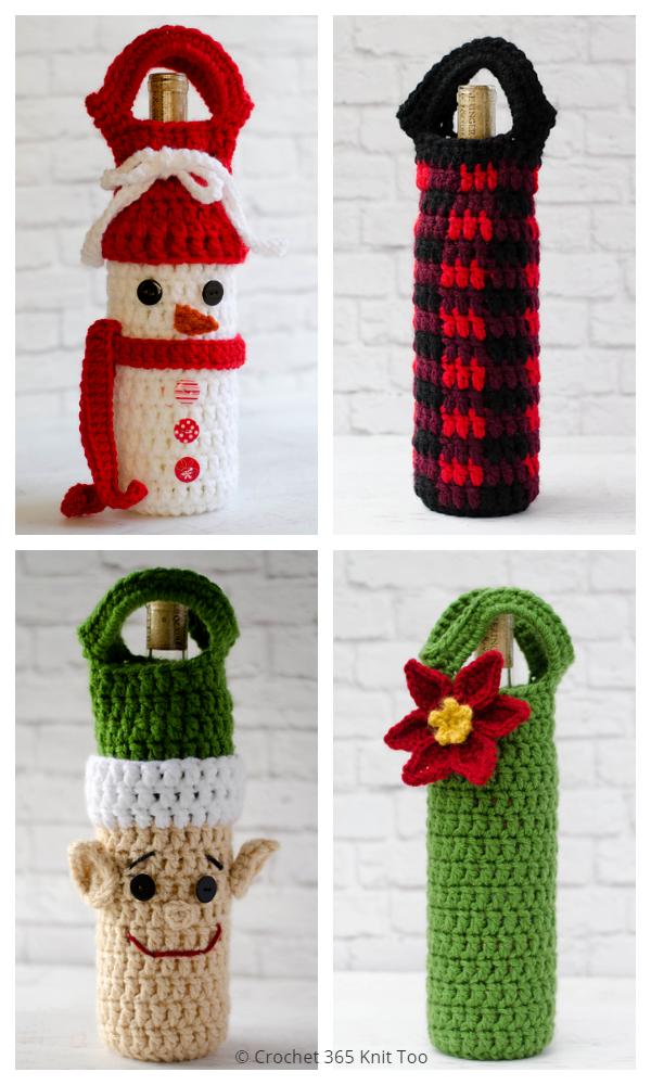 Christmas Wine Bottle Cozy Free Crochet Patterns