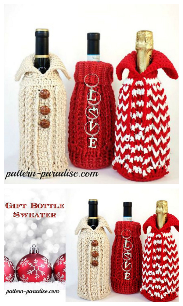 Holiday Bottle Sweater Gift Bag Cozy Free Crochet Patterns
