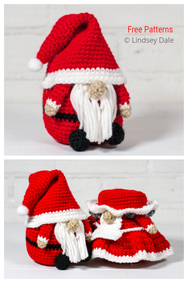 Crochet Mr & Mrs Santa Gnome Amigurumi Free Patterns