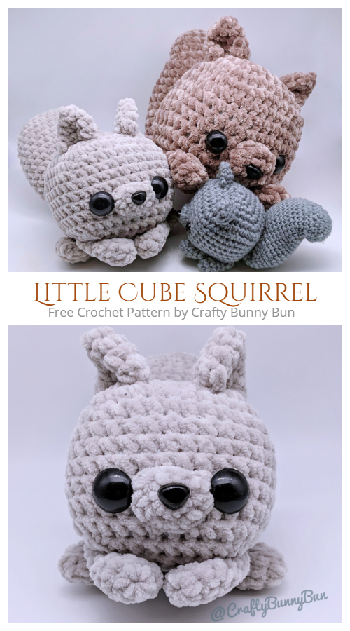 Crochet Little Cube Squirrel Amigurumi Free Patterns