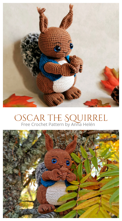 Crochet Oscar the Squirrel Amigurumi Free Patterns