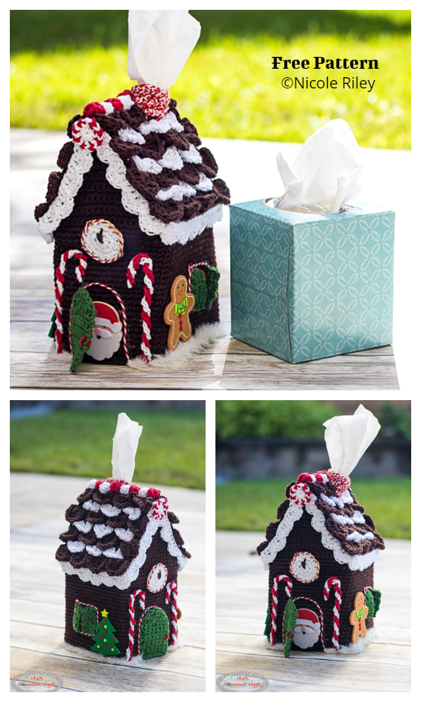 Gingerbread House Tissue Box Cover Free Crochet Patterns
