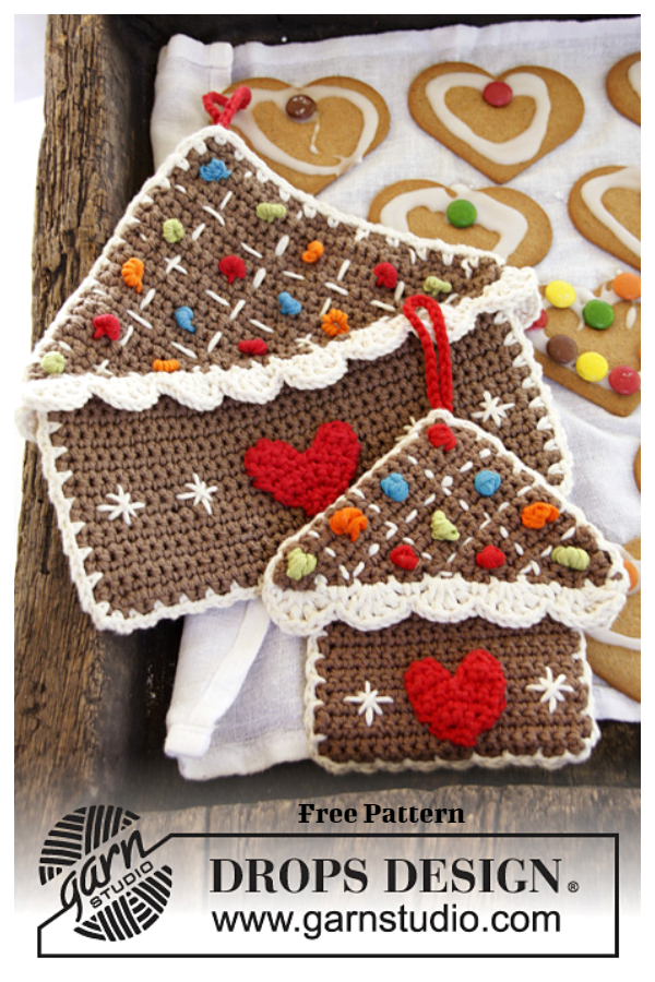 Gingerbread House  Pot holder set Free Crochet Patterns