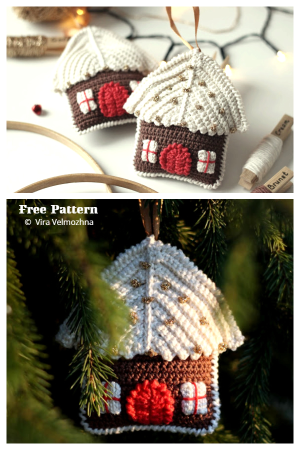Christmas Gingerbread House Ornament Free Crochet Patterns