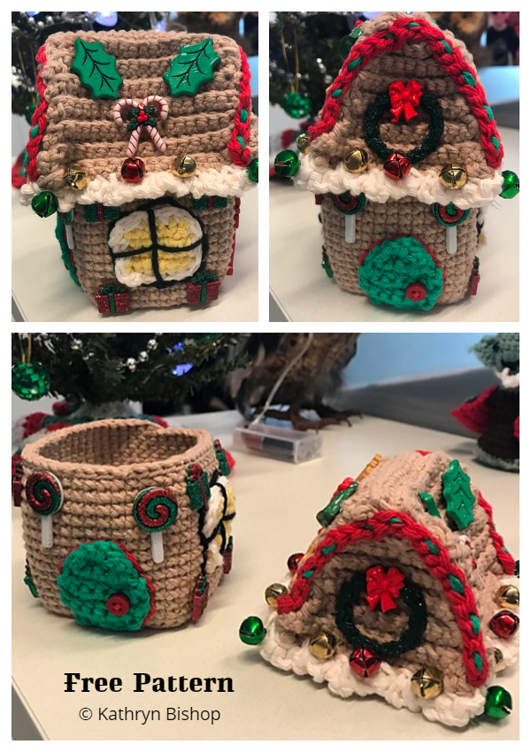 Basic Christmas Gingerbread House Box Free Crochet Patterns