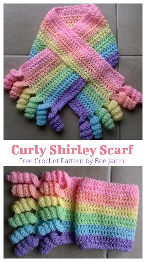 Rainbow Curly Shirley Scarf  Free Crochet Patterns