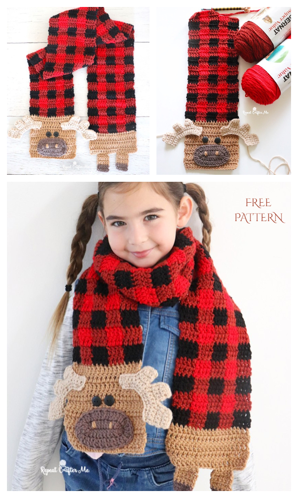 Plaid Moose Scarf Free Crochet Pattern