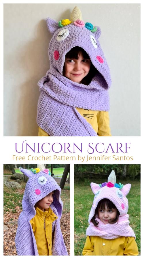 Unicorn Kids Scarf Free Crochet Patterns