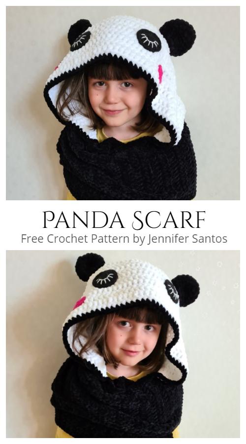 Panda Kids Scarf Free Crochet Patterns