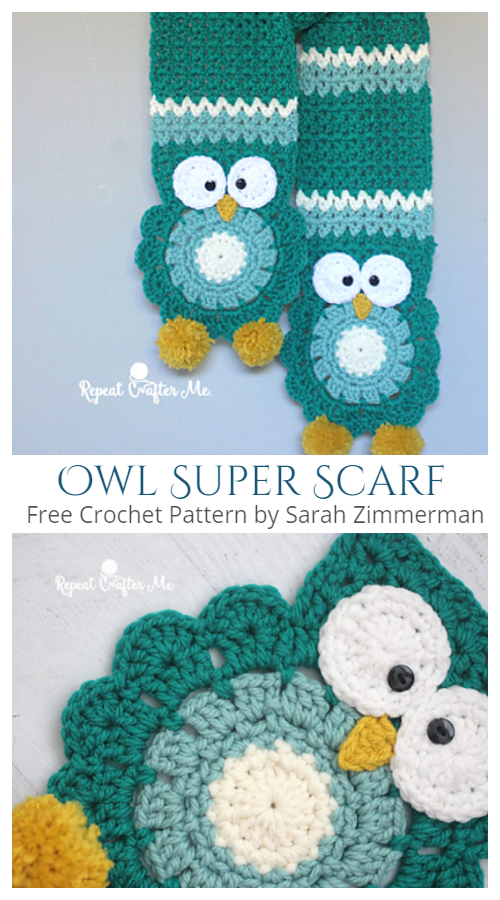 Owl Super Scarf Free Crochet Patterns