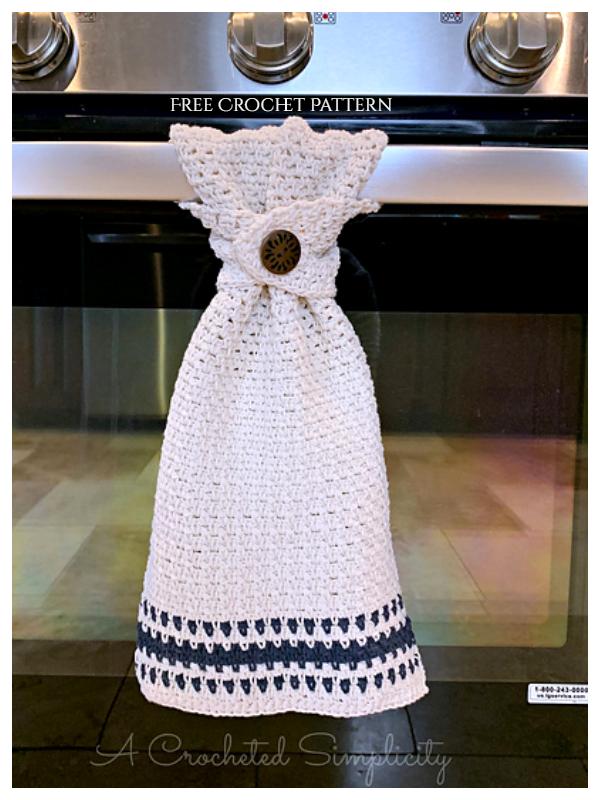 Farmhouse Striped Kitchen Towel Free Crochet Patterns