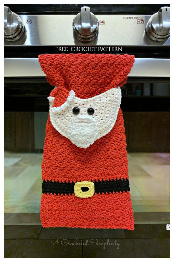 Santa Claus Kitchen Towel Free Crochet Patterns