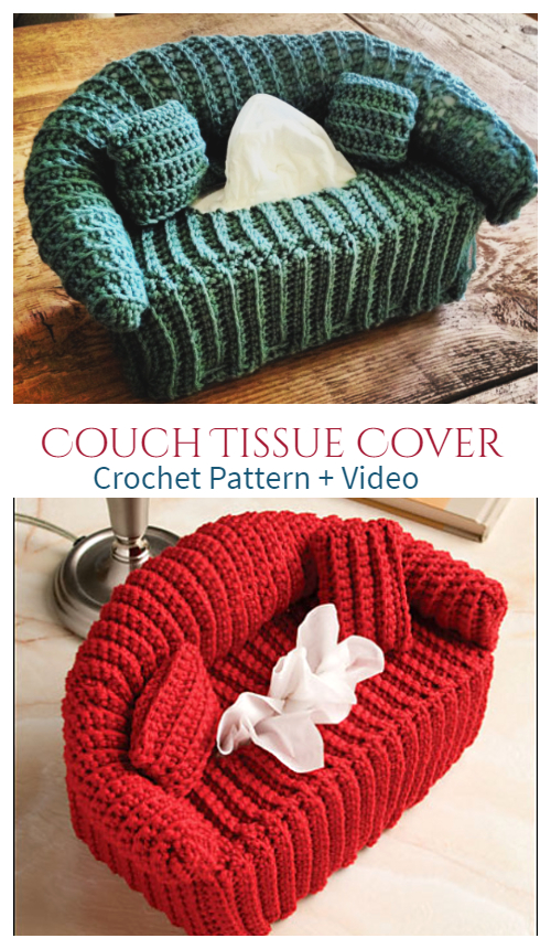 Couch Tissue Box Cover Free Crochet Patterns +Video