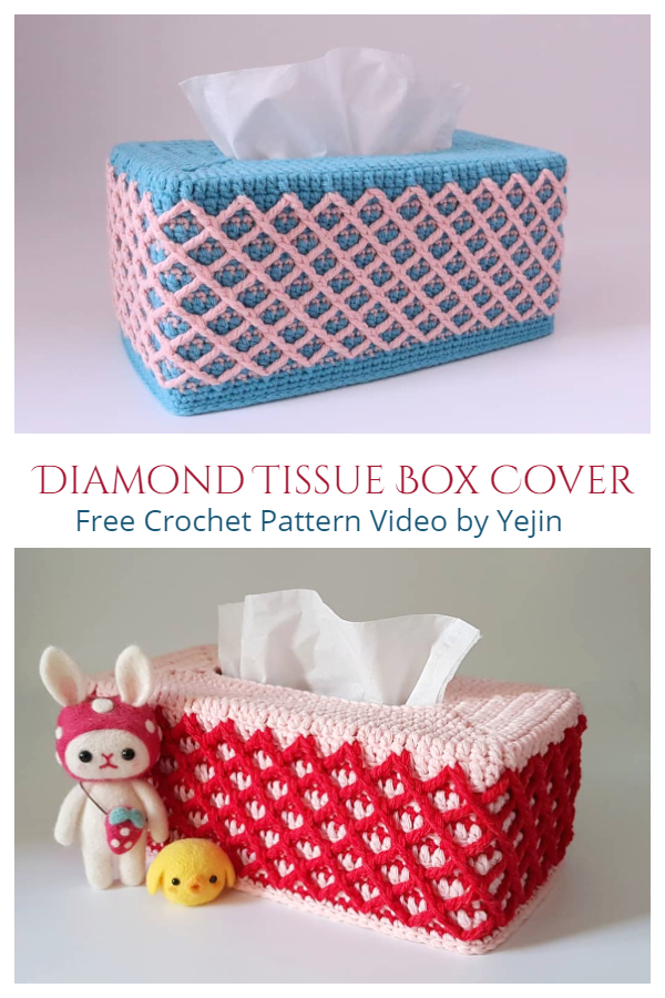 Diamond Tissue Box Cover Free Crochet Pattern + Video