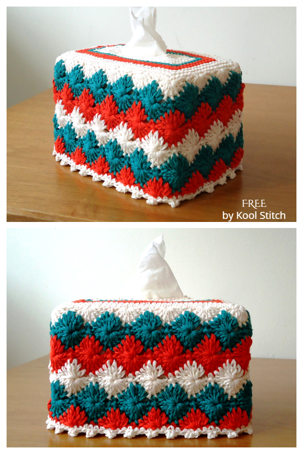 Catherine Wheel Tissue Box Cover Free Crochet Patterns
