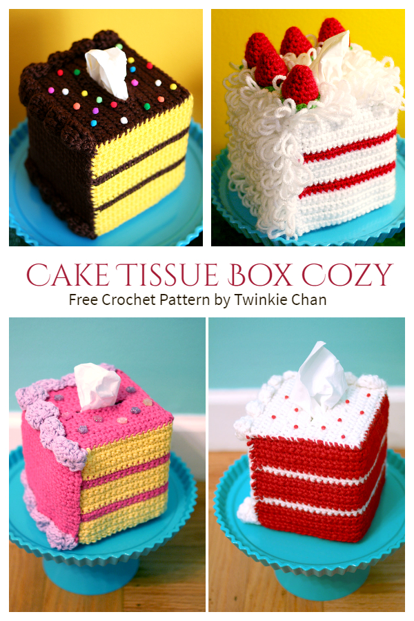 Frosted Cake Tissue Box Cover Free Crochet Patterns