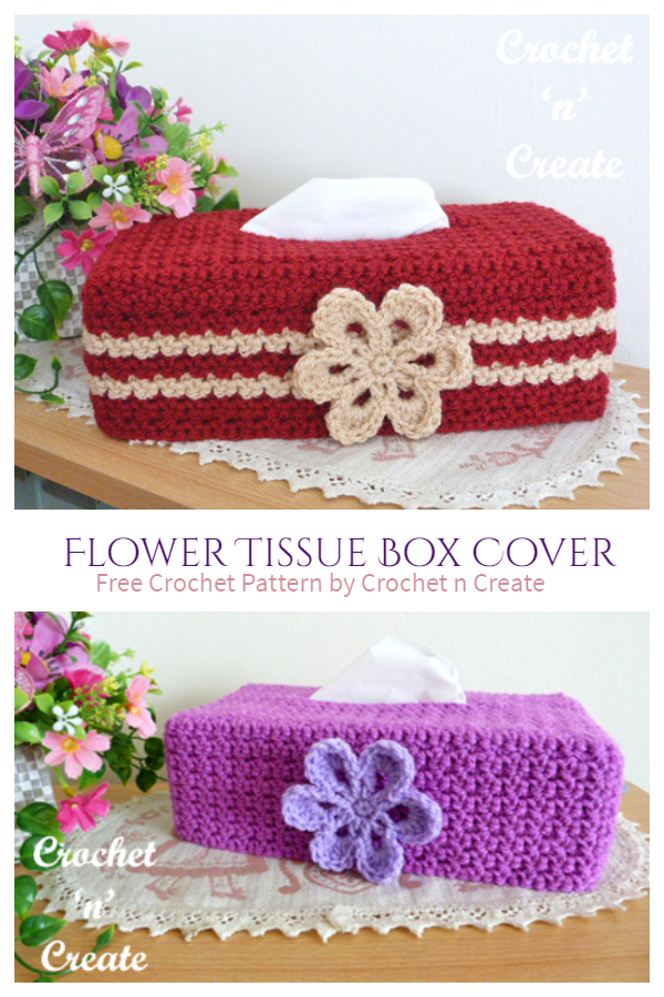 Flower Tissue Box Cover Free Crochet Patterns