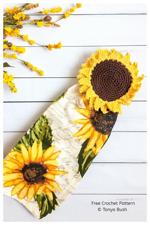 Rustic Sunflower Towel Topper Free Crochet Patterns