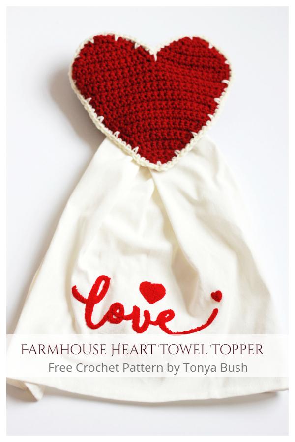 Farmhouse Heart Towel Topper Free Crochet Patterns