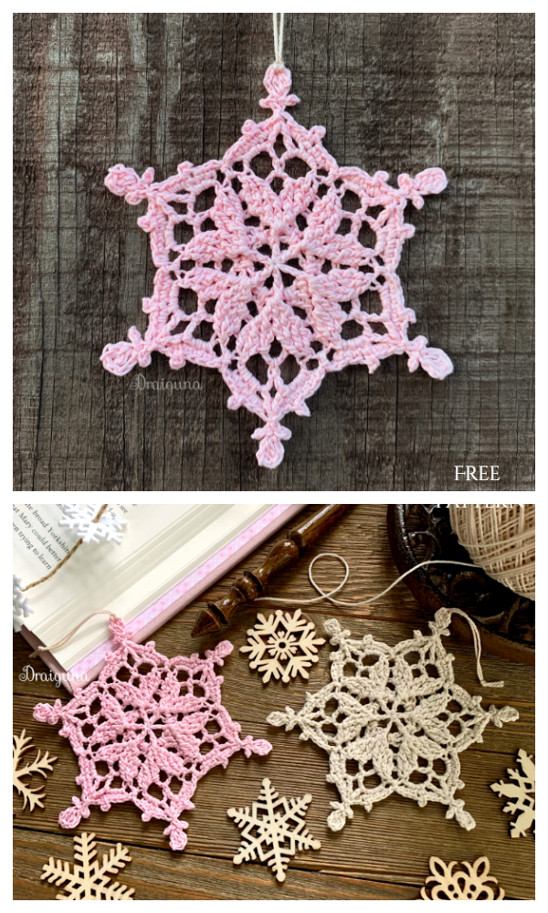 Winter Hearts Snowflake Free Crochet Patterns
