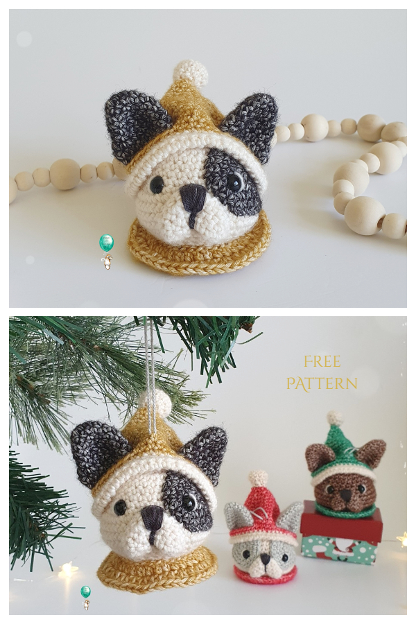 Frenchie Christmas Bauble Free Crochet Patterns