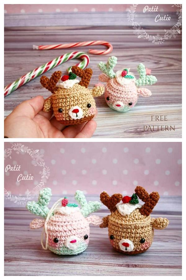 Deer Cupcake Christmas Bauble Free Crochet Patterns