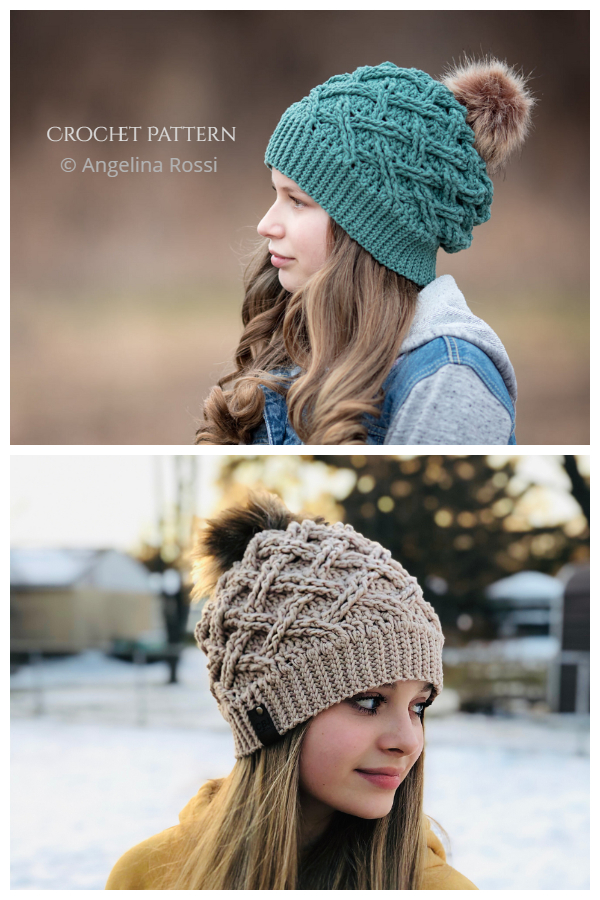 Arctic Weave Slouch Cable Beanie Hat Crochet Patterns