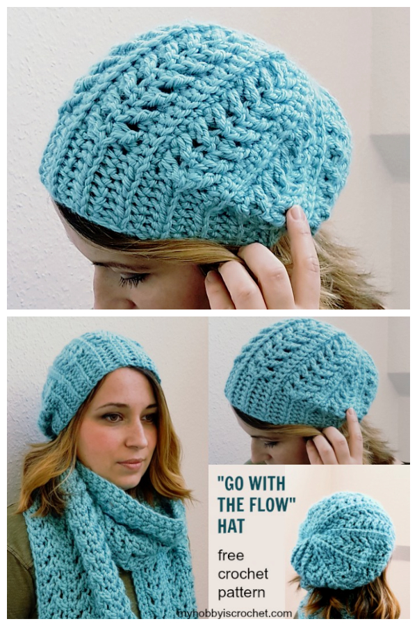 Go with the Flow Hat Free Crochet Patterns