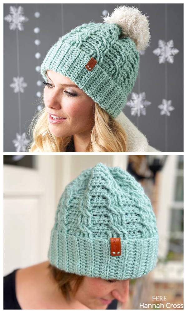 Cable Neo Mint Hat Free Crochet Patterns