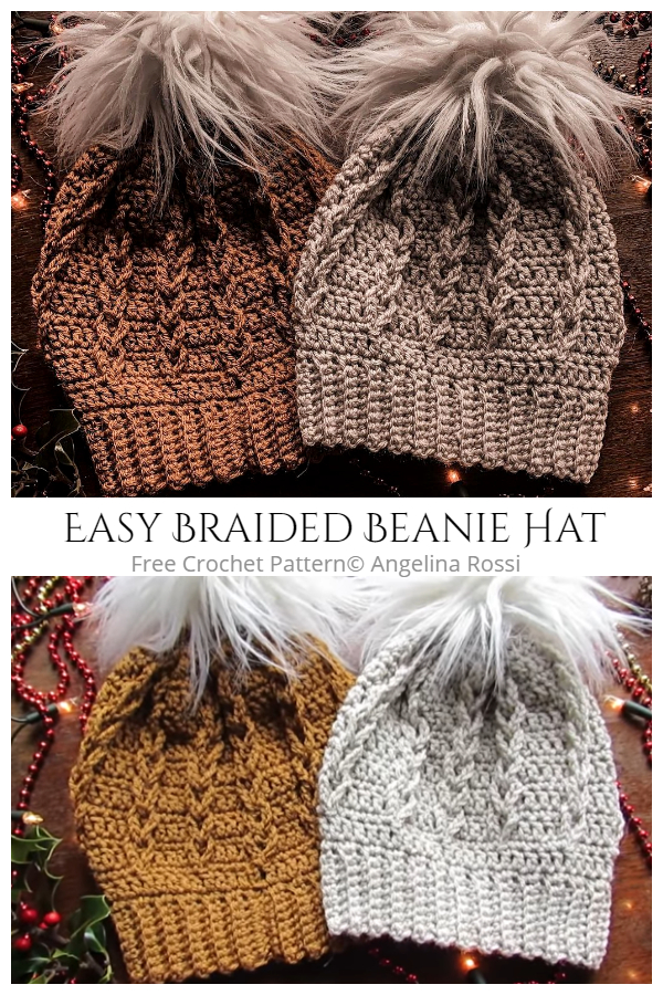 Easy Crochet Braided Beanie Hat Free Crochet Patterns