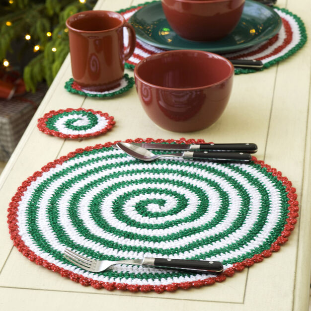Christmas Pinwheel Coaster & Placemat Free Crochet Patterns
