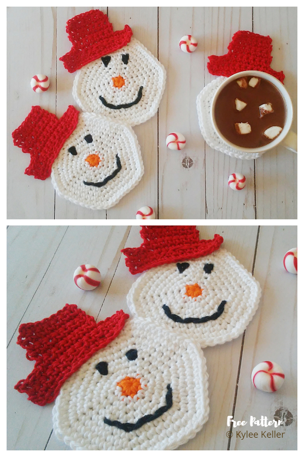 Christmas Snowman Coaster Free Crochet Patterns