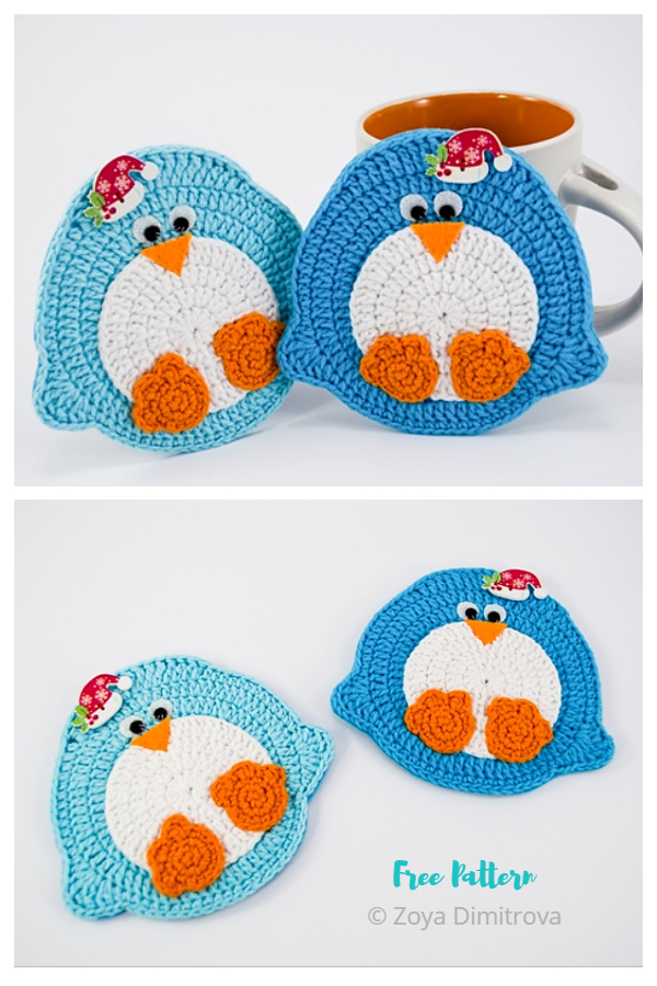 Christmas Penguin Coaster Free Crochet Patterns